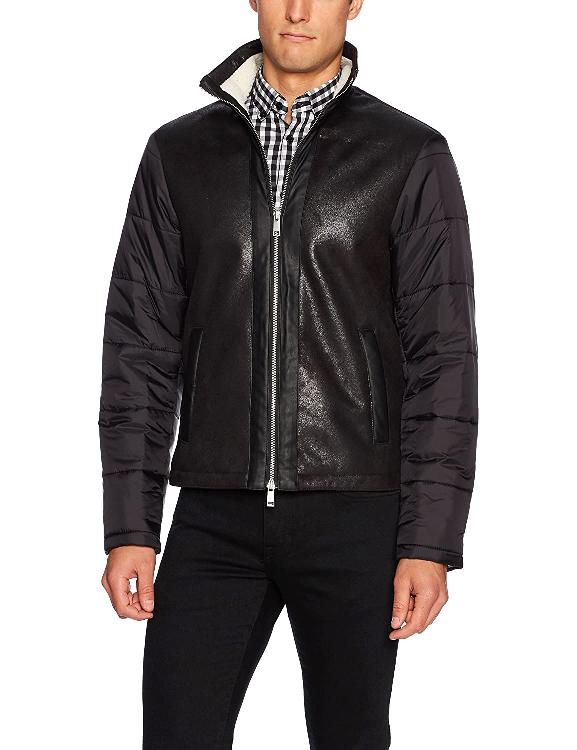 A|X Armani Exchange Men's Eco Leather Front Jacket with Quilted Nylon Sleeves 6YZB38ZN64Z