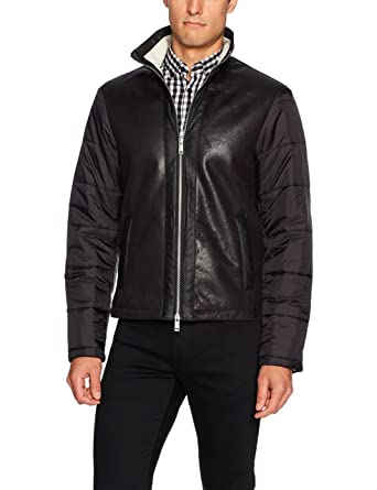 0e01c69dc54 A X Armani Exchange Men s Eco Leather Front Jacket with Quilted Nylon  Sleeves, Black