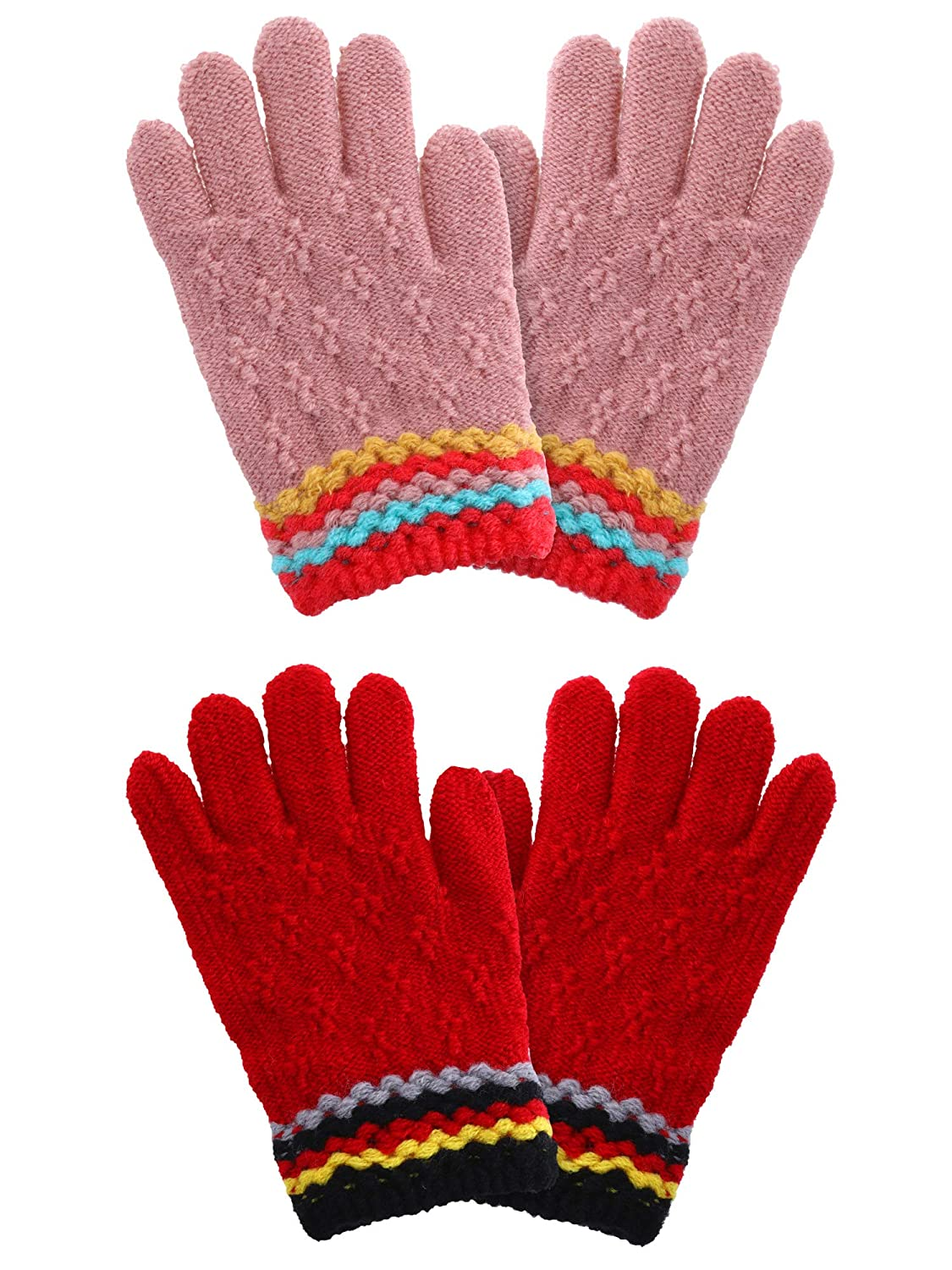 Boao 2 Pairs Kids Winter Gloves Full Finger Knitted Gloves Warm Stretchy Mittens for Boys Girls Supplies