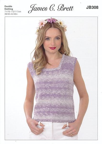 56cd7d287bd2c James Brett Double Knitting Pattern Womens Ladies Sleeveless Top Cotton On  Denim DK (JB308)  Amazon.co.uk  Kitchen   Home