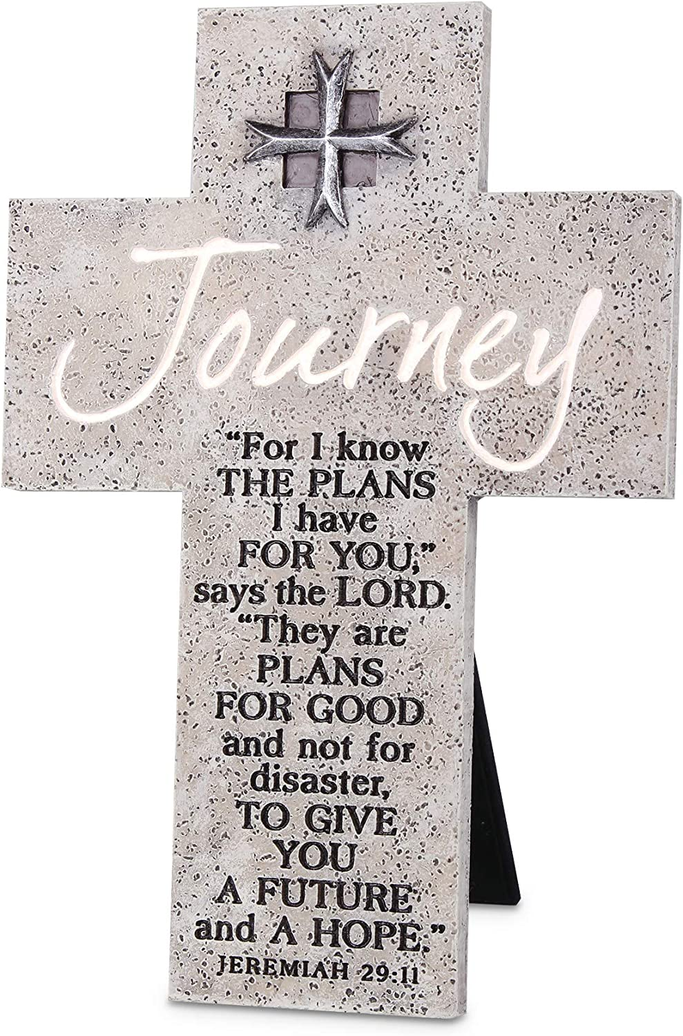 Lighthouse Christian Products Future and Hope Journey Marbled Grey 8 Inch Cast Stone Cross Figurine