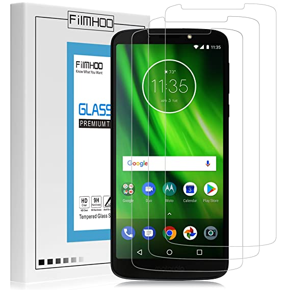 meet f2bb5 b46ab [3 Pack] Moto G6 Play Screen Protector [Tempered Glass] [Friendly fit for  Moto G6 Play Phone case],Anti-Scratch Bubble-Free 9H Hardness ...