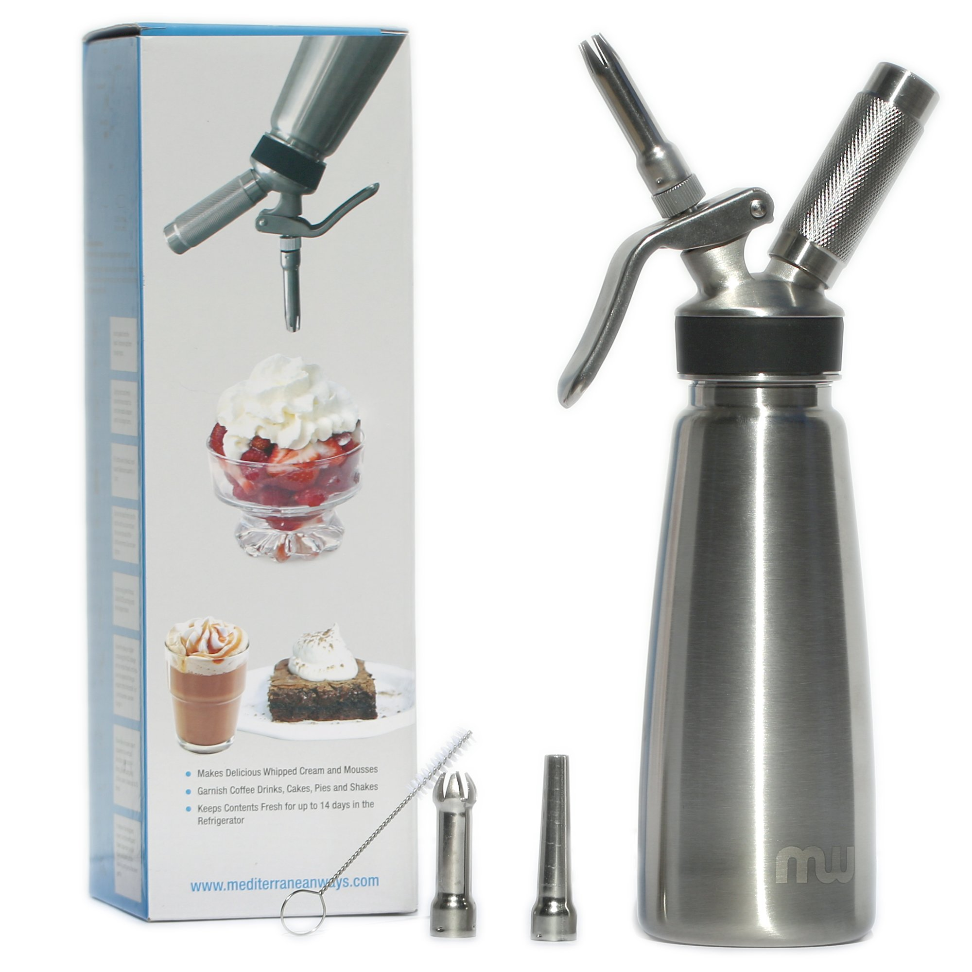 Professional Grade 1 Pint Whipped Cream Dispenser - 100% Stainless Steel Whipped Cream Maker Includes 3 Decorating Tips - No Plastic Parts
