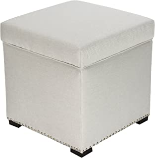 product image for MJL Furniture Designs Tami Square Fabric Upholstered Storage Ottoman, Platinum