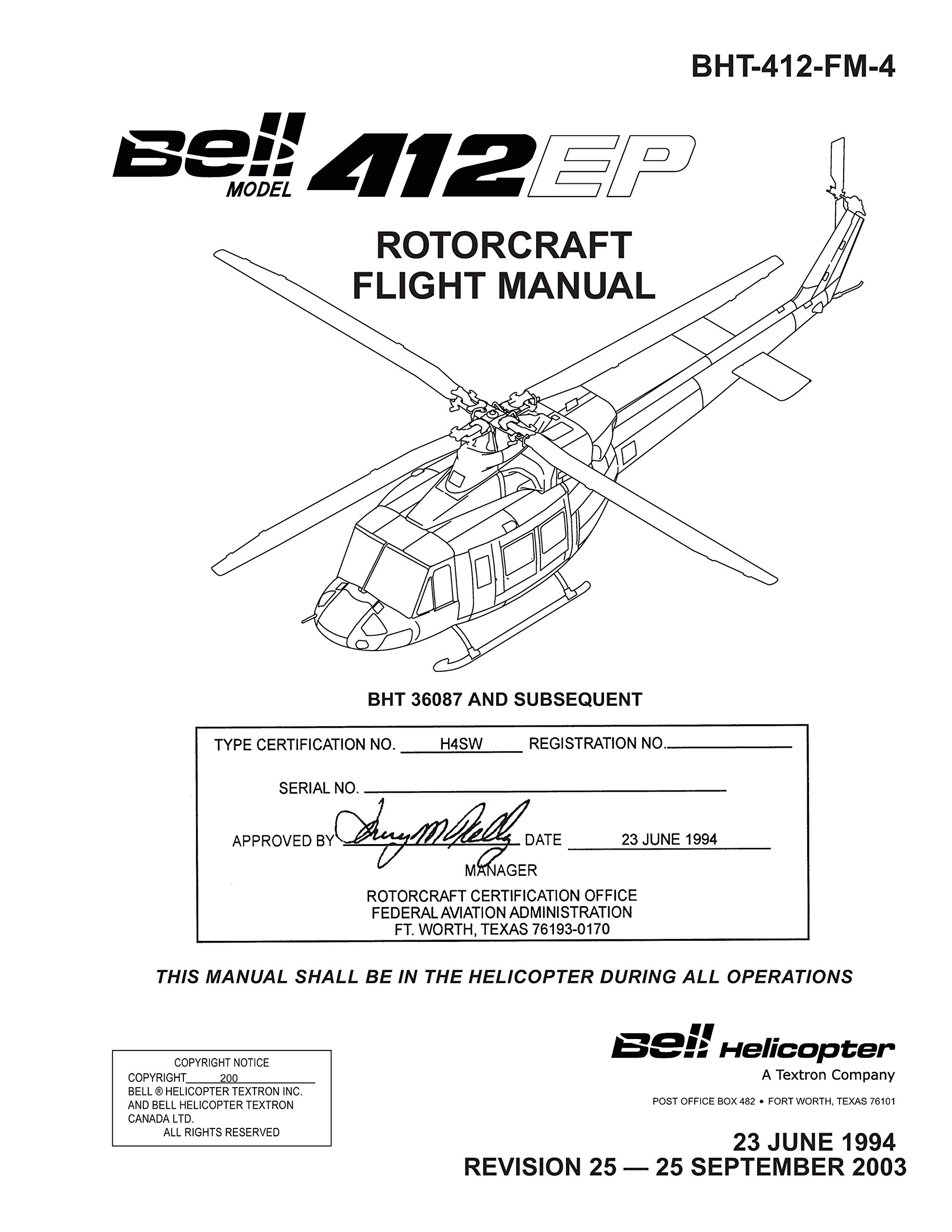Bell 412 EP ROTORCRAFT FLIGHT MANUAL: Bell Helicopter Textron Inc.:  Amazon.com: Books