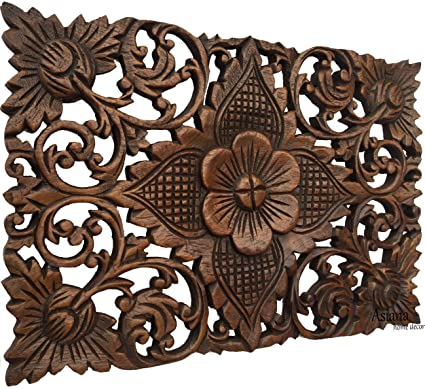 Amazon Com Carved Wood Wall Art Rustic Wood Wall Plaque Floral
