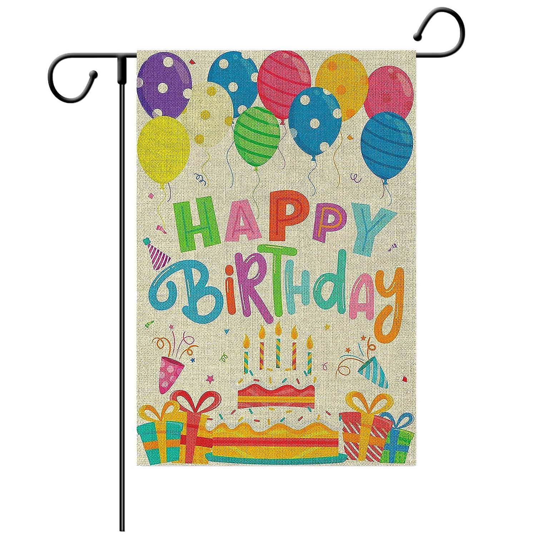 Loccie Happy Birthday Garden Flag, Birthday Cake Balloon Linen Yard Signs,Vertical Double Sided Farmhouse Burlap Yard Outdoor Decoration 12 x 18 Inch