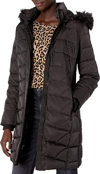 Burgundy Large Marc New York by Andrew Marc Womens Chevron Quilted Down Jacket with Removable Faux Fur Hood