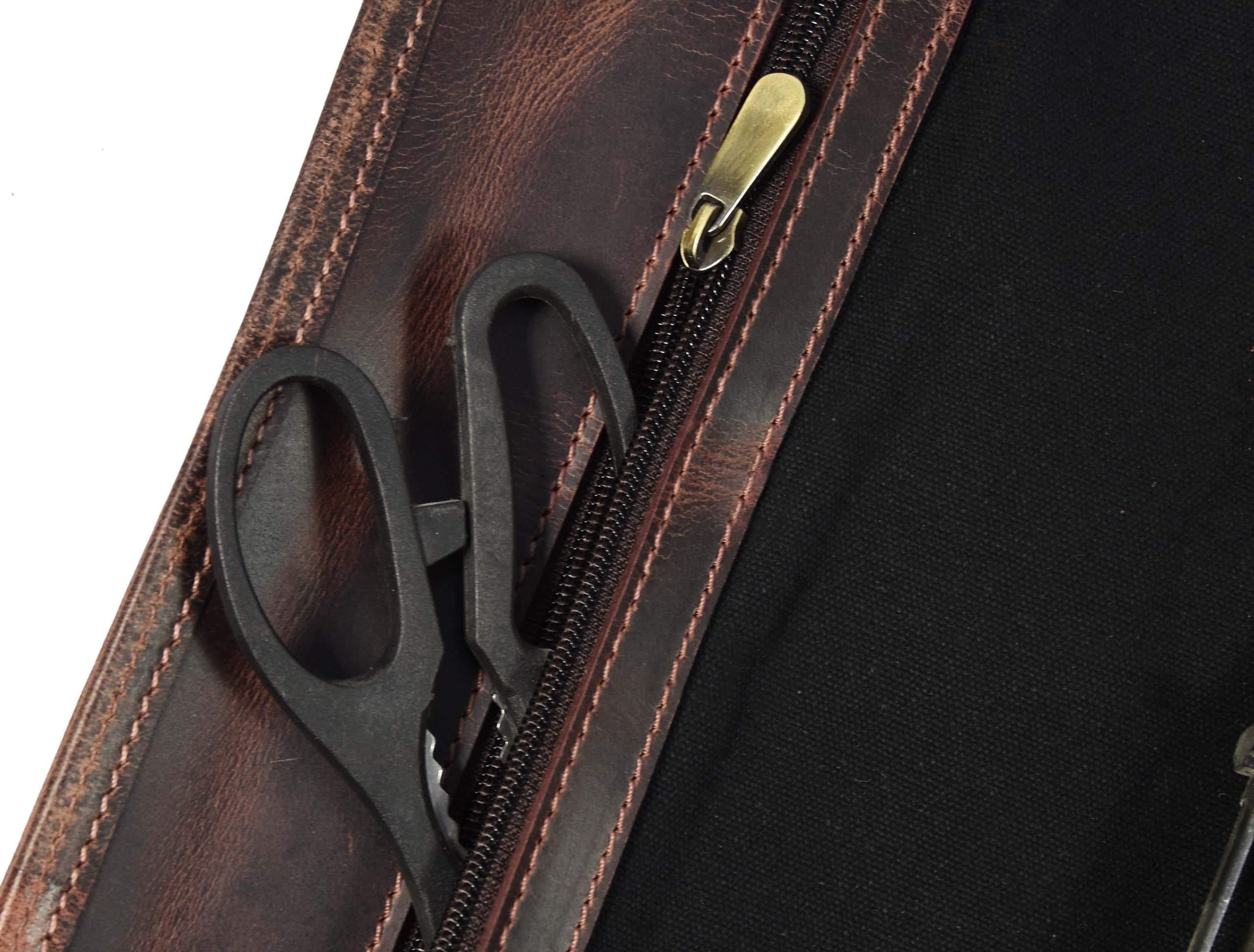 Leather Knife Roll Storage Bag   Elastic and Expandable 10 Pockets   Adjustable/Detachable Shoulder Strap   Travel-Friendly Chef Knife Case Roll By Aaron Leather (Raven, Canvas) by AARON LEATHER GOODS VENDIMIA ESTILO (Image #4)