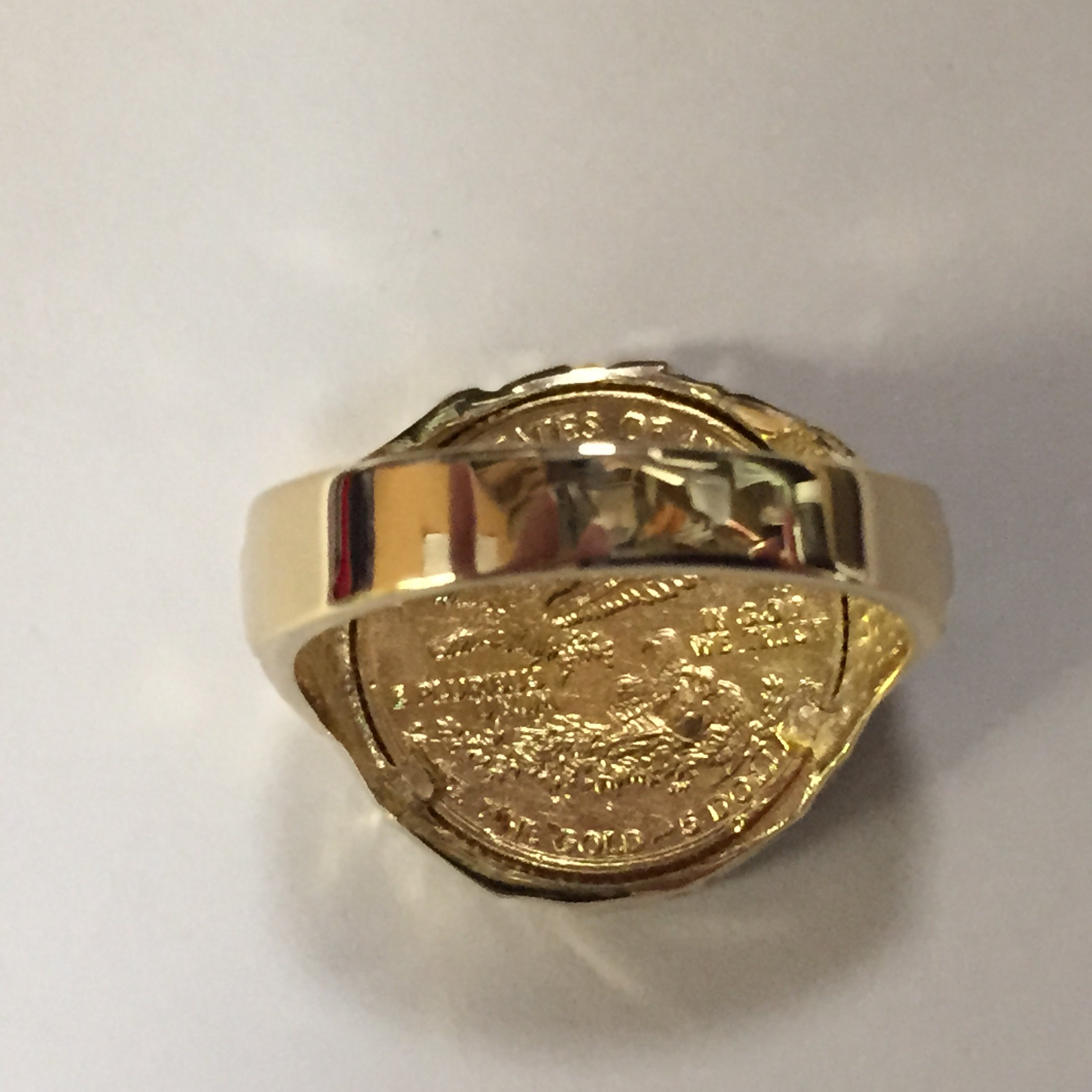 22K-Fine Gold 1/10 Oz Us American Eagle Coin In -14K Nugget Ring 1510 (Random Year Coin) by TEX (Image #3)