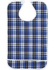3Colors Waterproof Adult Elder Mealtime Bib Washable Aid Clothes Protector(Blue)