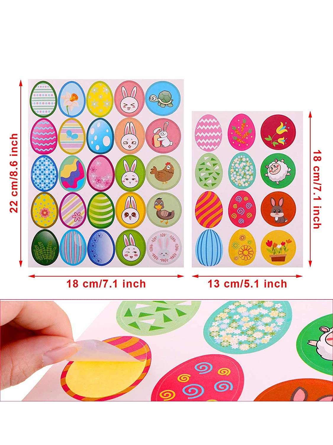 Chuangdi 24 Sheets 392 Pieces Easter Stickers with Bunny Egg Patterns Stickers Labels for Easter Party Decoration Favors