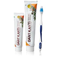 Patanjali Dant Kanti Toothpaste Value Pack - 300 g ((200g * 1N and 100g * 1N) + 1N Toothbrush)