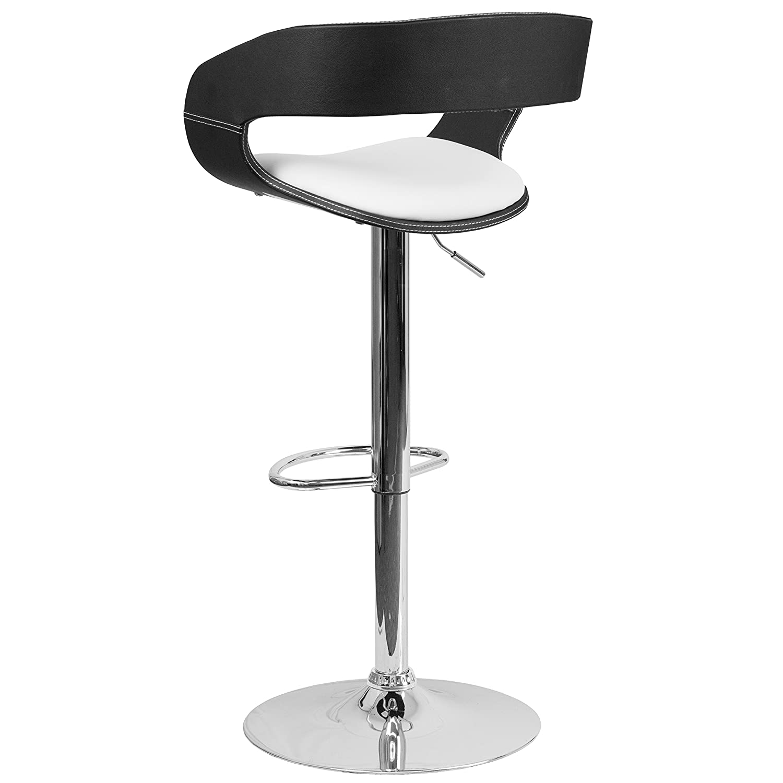 Flash Furniture Bentwood Two Tone Black /& White Vinyl Adjustable Height Barstool
