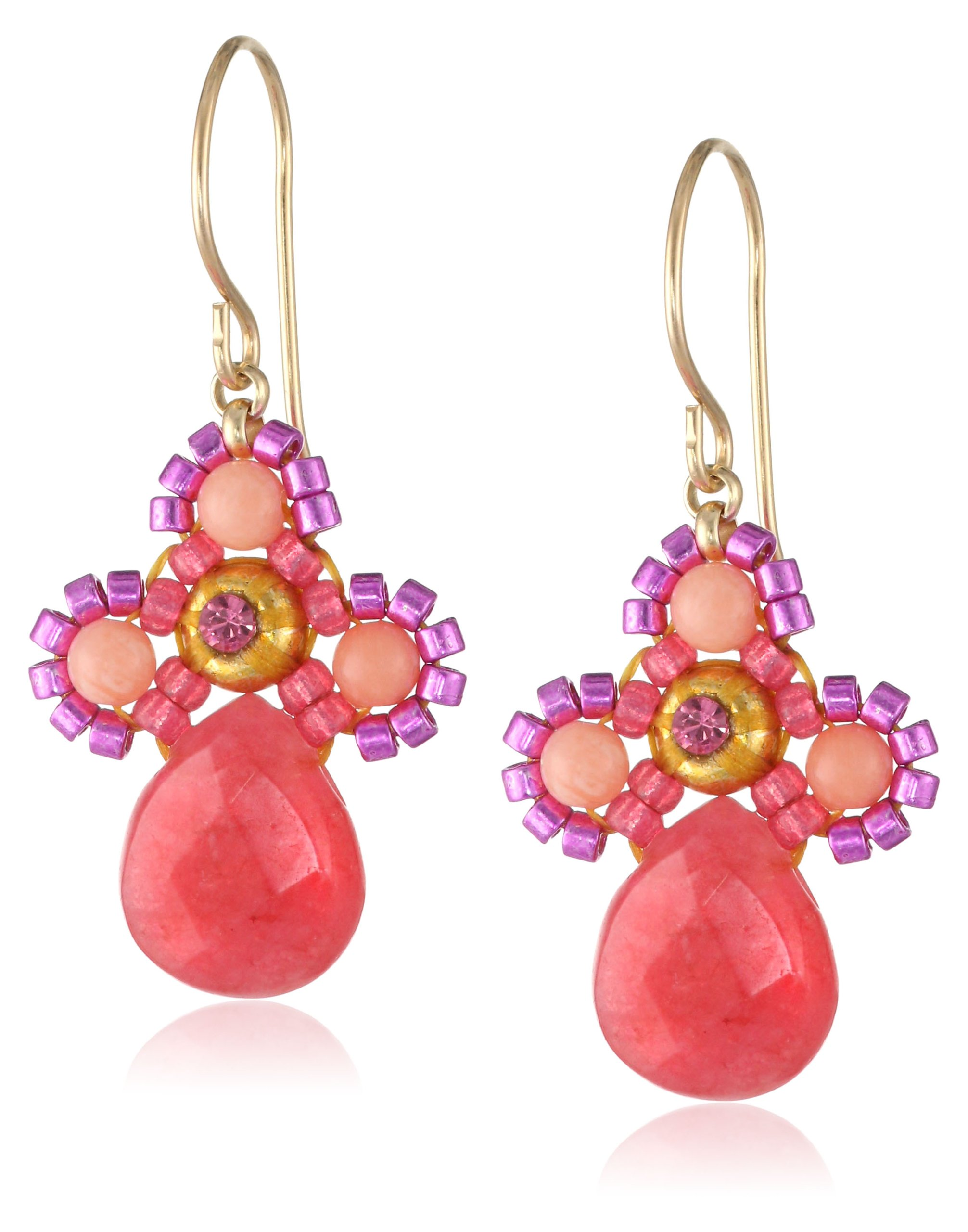 Miguel Ases Small Swarovski Center Pink Coral and Dyed Red Quartzite Miyuki Drop Earrings