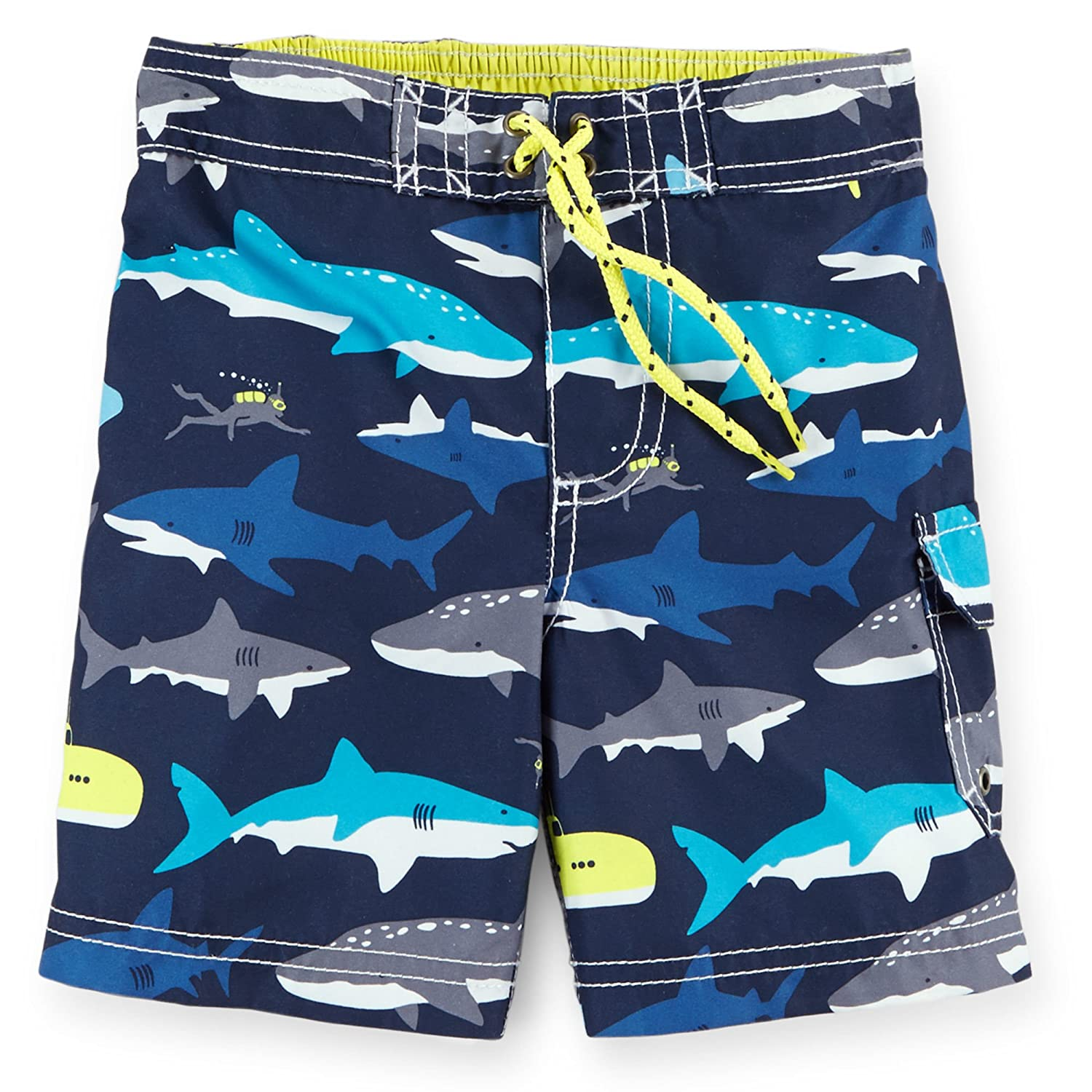 d1d8173b1e Carters Boys 4-8 Neon Shark Swim Trunks Carters Clothing