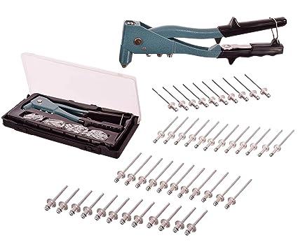 Mano remachadora remachadora (Incluye 50 de aluminio Remaches Remaches ciegos (remachadora de tuercas Alicate