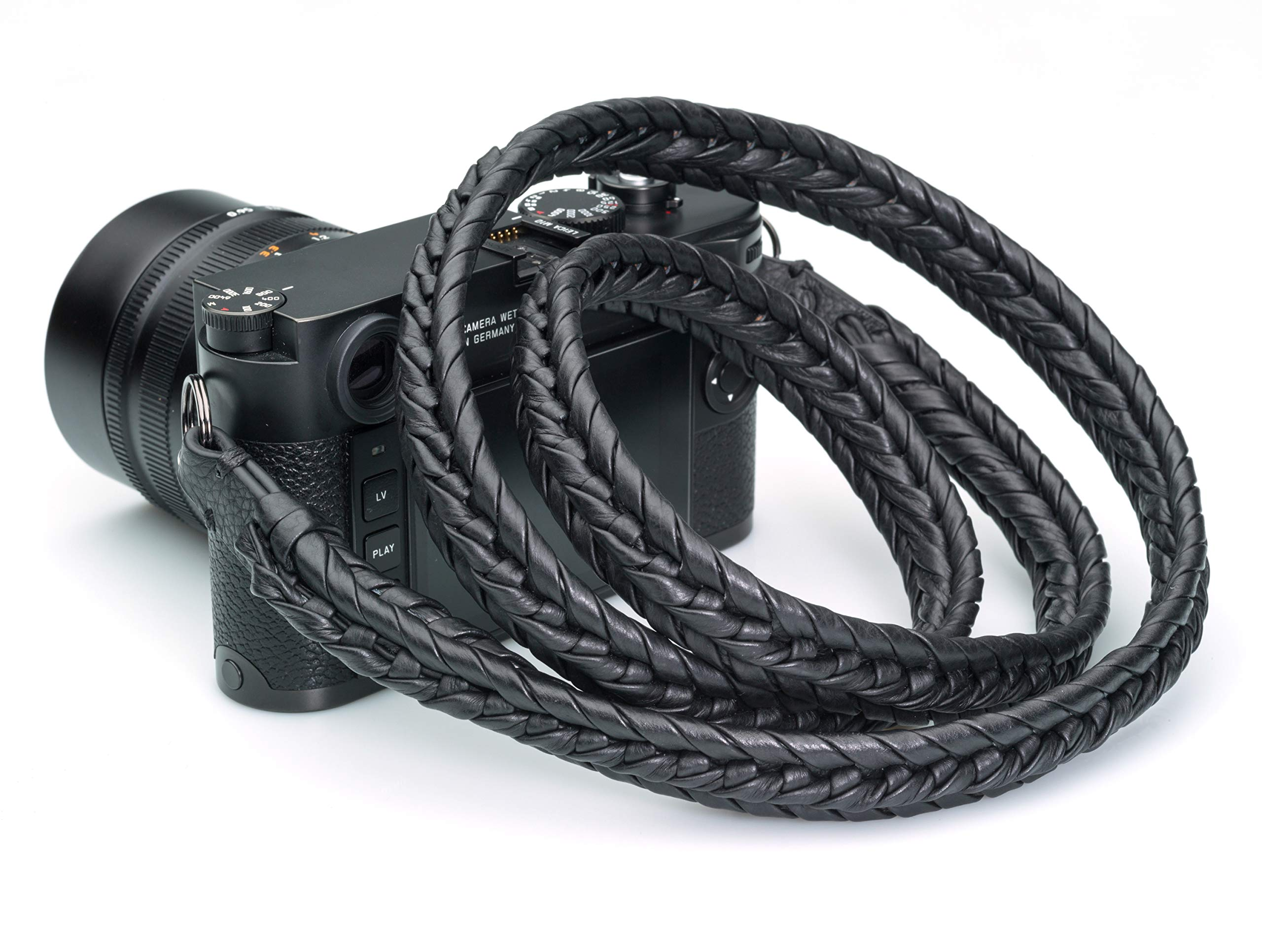 Vi Vante Ultime Blackout; Black on Black Braided Top Grain Leather Designer Camera Strap w/Electroplated Mounting Rings & Branded Carry Pouch by Vi Vante