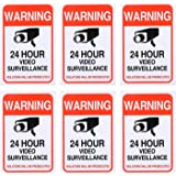 (6 Pack) 24 Hour Video Surveillance Sticker 4x6in, CCTV Security Premium Self Adhesive Vinyl, Home Business Camera Alarm System Stickers, Indoor & Outdoor, UV Protected & Waterproof Use by Aboonlys