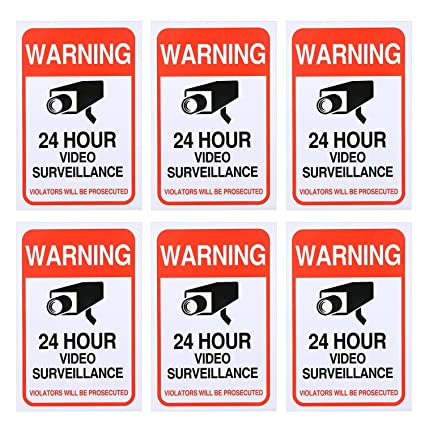 6 pack 24 hour video surveillance sticker 4x6cctv security premium self adhesive