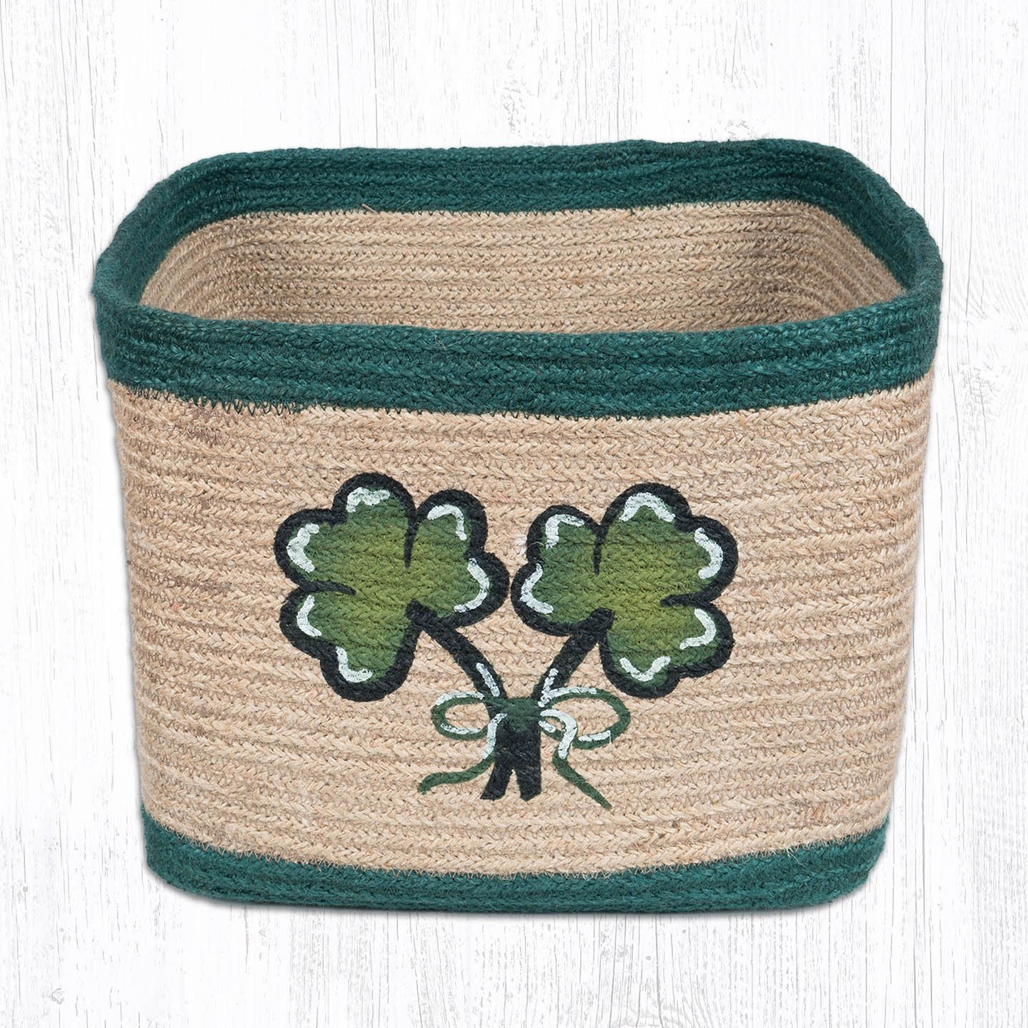Heart of America Shamrock Square Printed Basket 10 in. by 10 in.