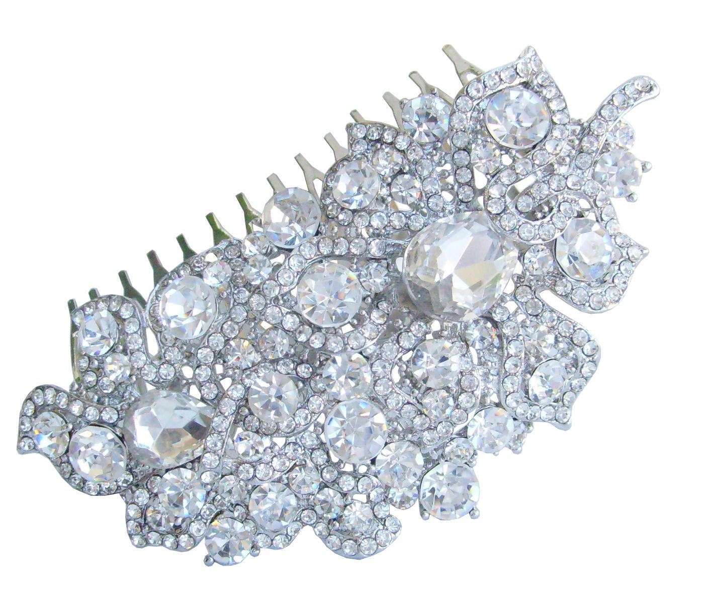 Sindary Wedding Headpiece 4.13 Inch Silver-tone Clear Rhinestone Crystal Flower Hair Comb