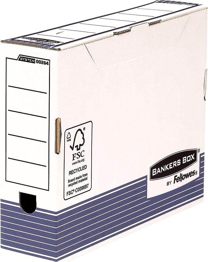 Fellowes Bankers Box - Caja de archivo definitivo automático, A4, 80 mm, 10 unidades, color blanco y azul: Amazon.es: Oficina y papelería