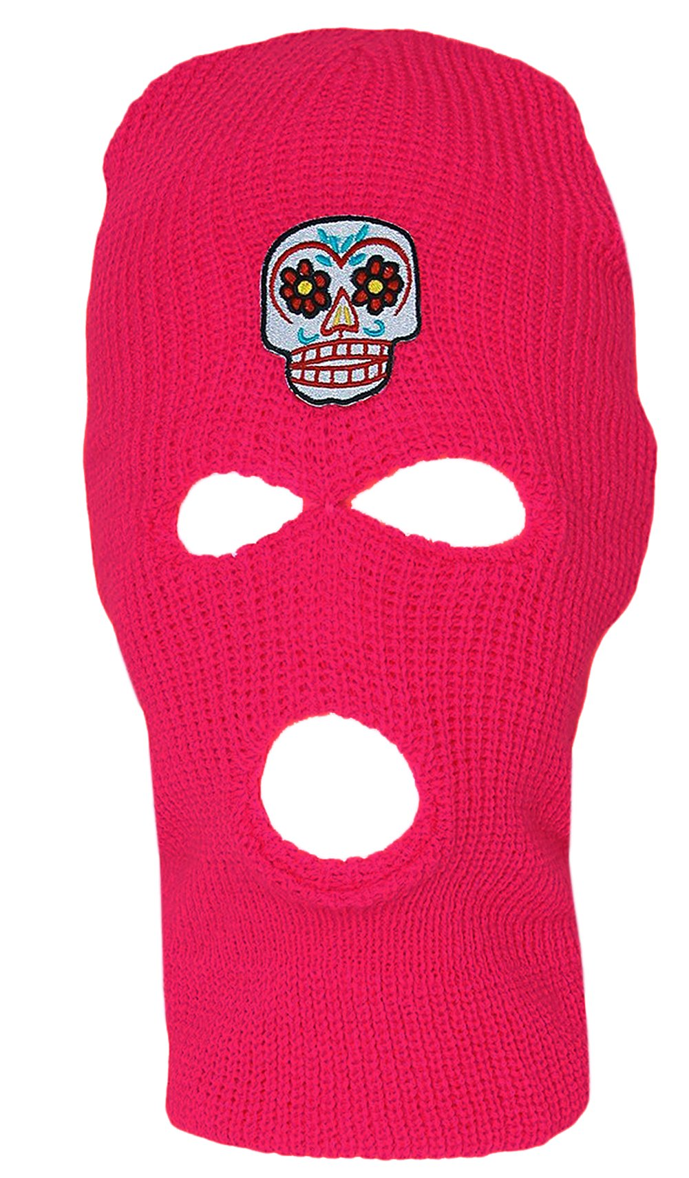 3 Hole Ski Mask Hot Pink, Sugar Skull by Hollywood (Image #1)