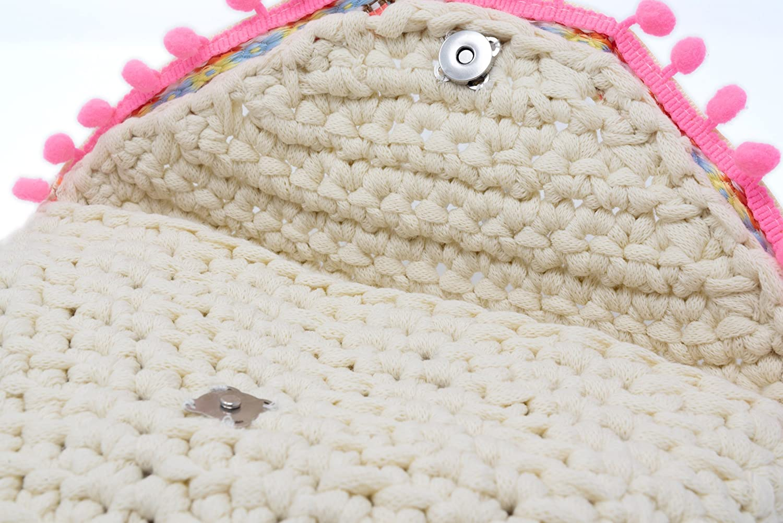 Cartera de mano tipo sobre tejido a Crochet color Crema estilo Boho ...