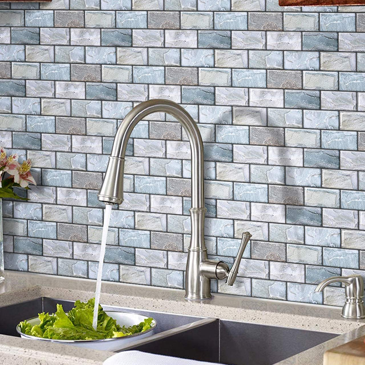 Hyfanstr 3d Brick Effect Peel And Stick Tile 3d Tile Sticker Self Adhesive Wall Tiles For Kitchen Bath 27x25 4cm Pack Of 4 Amazon Co Uk Kitchen Home