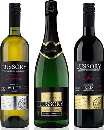 Vino desalcoholizado - LUSSORY - Blanco+Tinto+Espumoso (Lote de 3botellas x0,75) SIN ALCOHOL