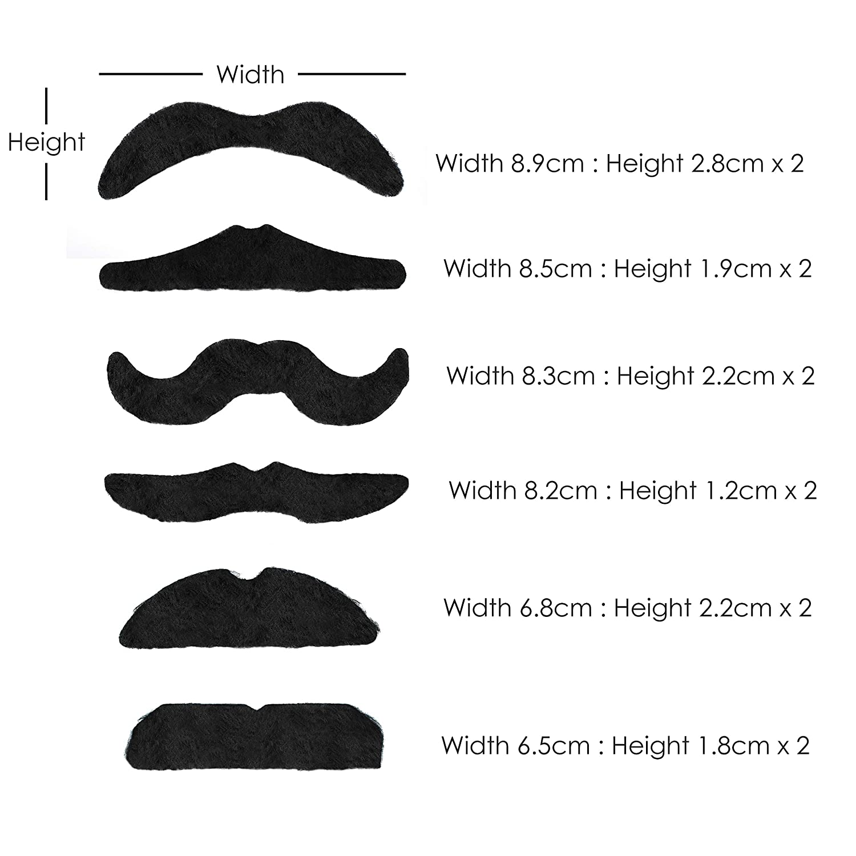 Pink /& Multicolour Self-Adhesive Fancy Dress Moustaches Set of 6 Black
