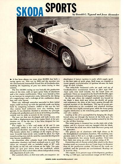 Amazon Com 1959 Skoda Sports Racing Car Vintage Non Color Article
