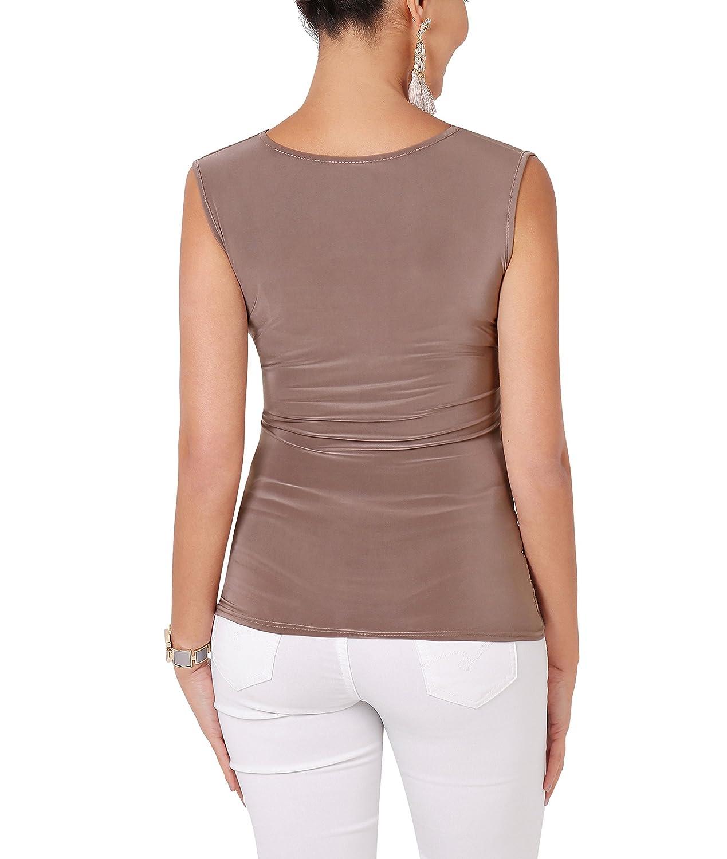 KRISP/® Top con Drappo Incrociato Donne Arricciato Jersey Blusa Collo a V Tunica
