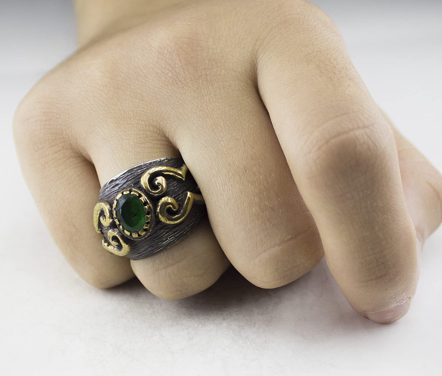 Emerald Created Stone Falcon Jewelry Sterling Silver Unisex Ring Handmade Ring