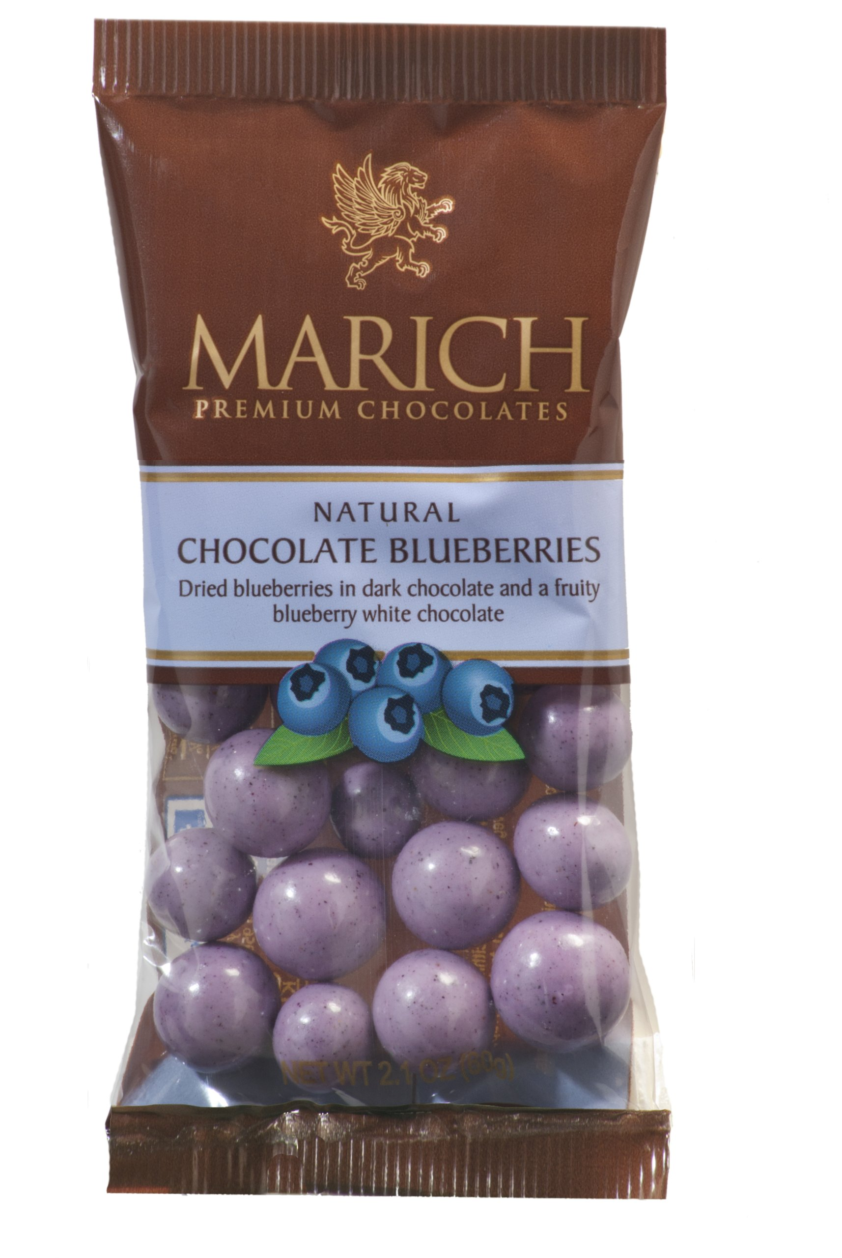 Marich Natural Chocolate Blueberries, 2.1-Ounce (Pack of 12) by Marich