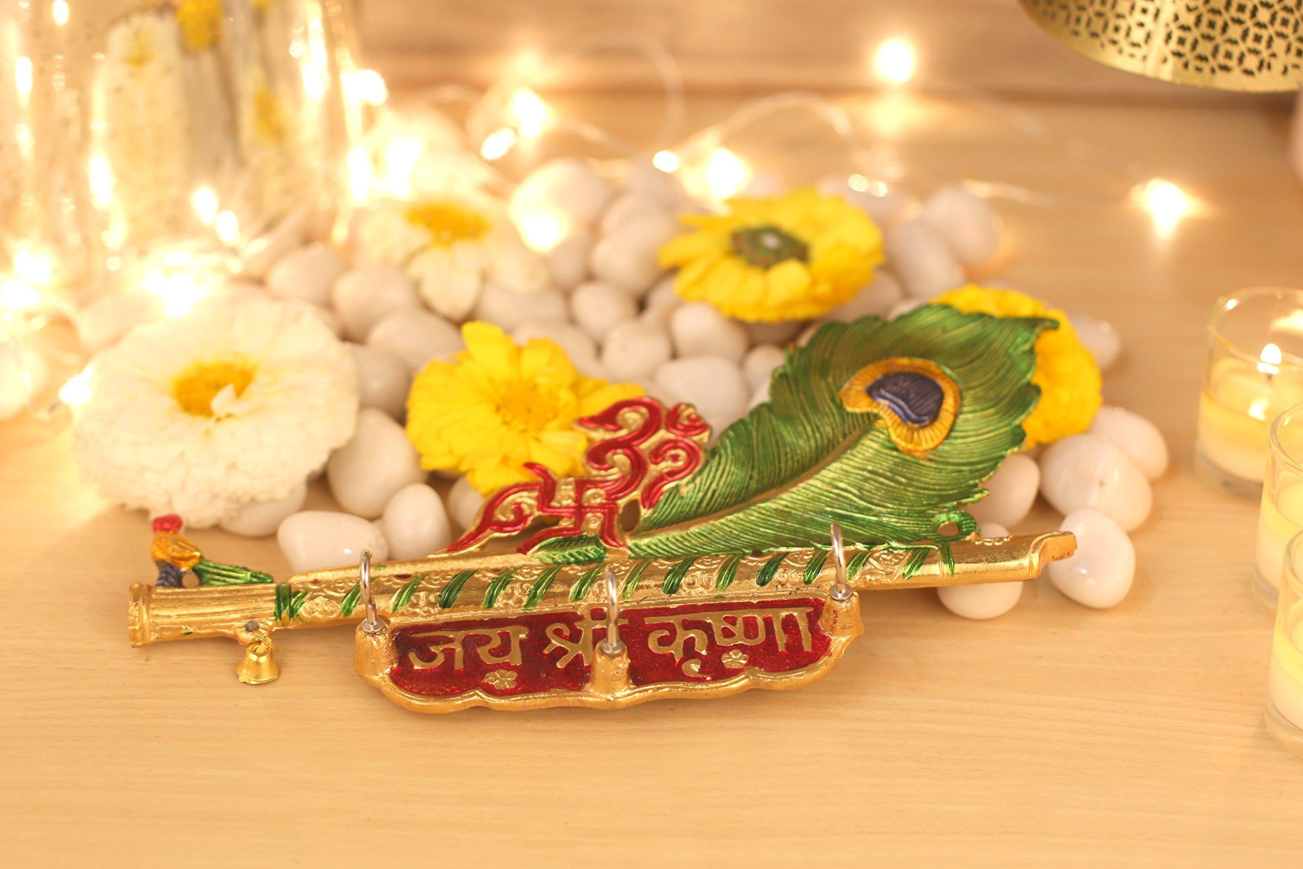 Aatm Decorative & Attacractive Brass Beautiful Handicraft Krishna Ji Flute Multi Purpose Hanger with MOR Pankh Design   Home Use/Wall Decoration/Key Hanger/Cloth Hanger  