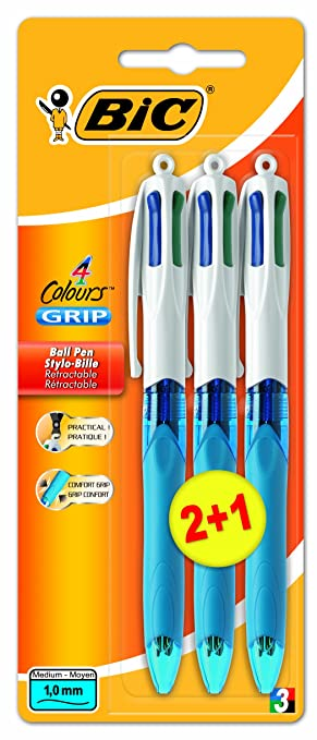 2 opinioni per BiC- Penna 4 colori con impugnatura ergonomica, punta media, confezione da 2 più