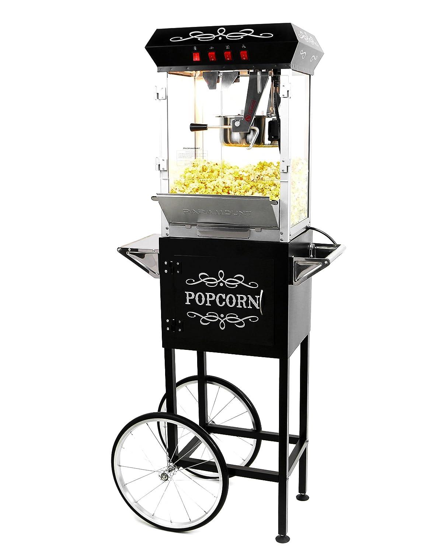 Paramount 8oz Popcorn Maker Machine Cart – New Upgraded Feature-Rich 8 oz Hot Oil Popper Color Black