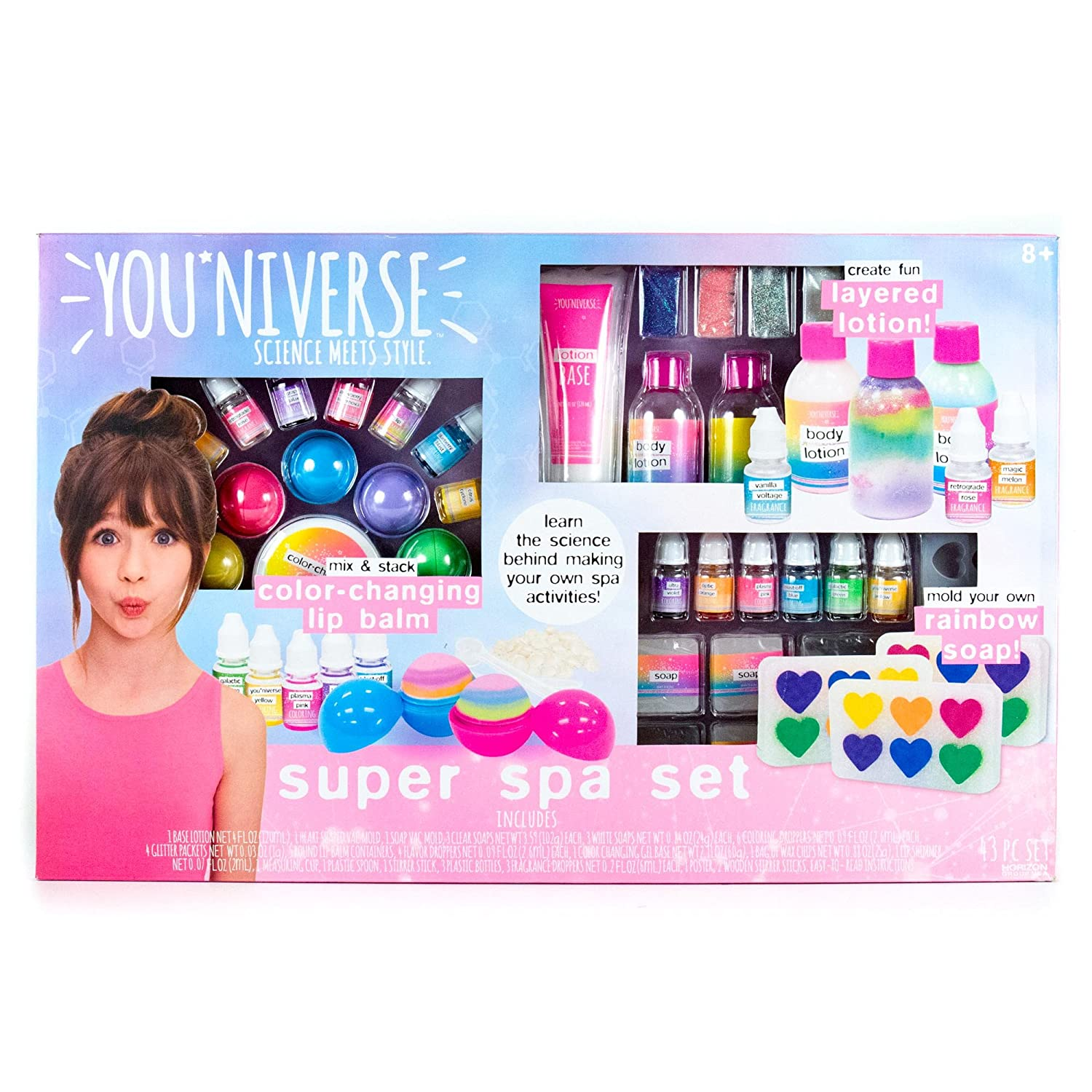 YouNiverse Super Spa Set by Horizon Group Usa, Ultimate DIY STEM Science Kit, Make Your Own Lip balms, Shimmer Lotions & Rainbow Soaps, Multicolored