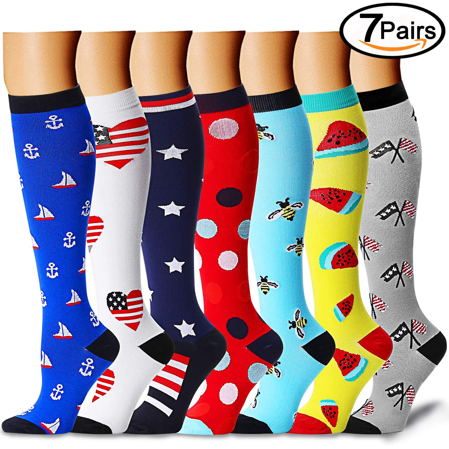 Compression Socks (7 Pairs)15-20 mmhg is BEST Graduated Athletic & Medical for Men & Women, Running, Travel, Nurses, Pregnant - Boost Performance, Blood Circulation & Recovey(Small/Medium, Assorted 5)