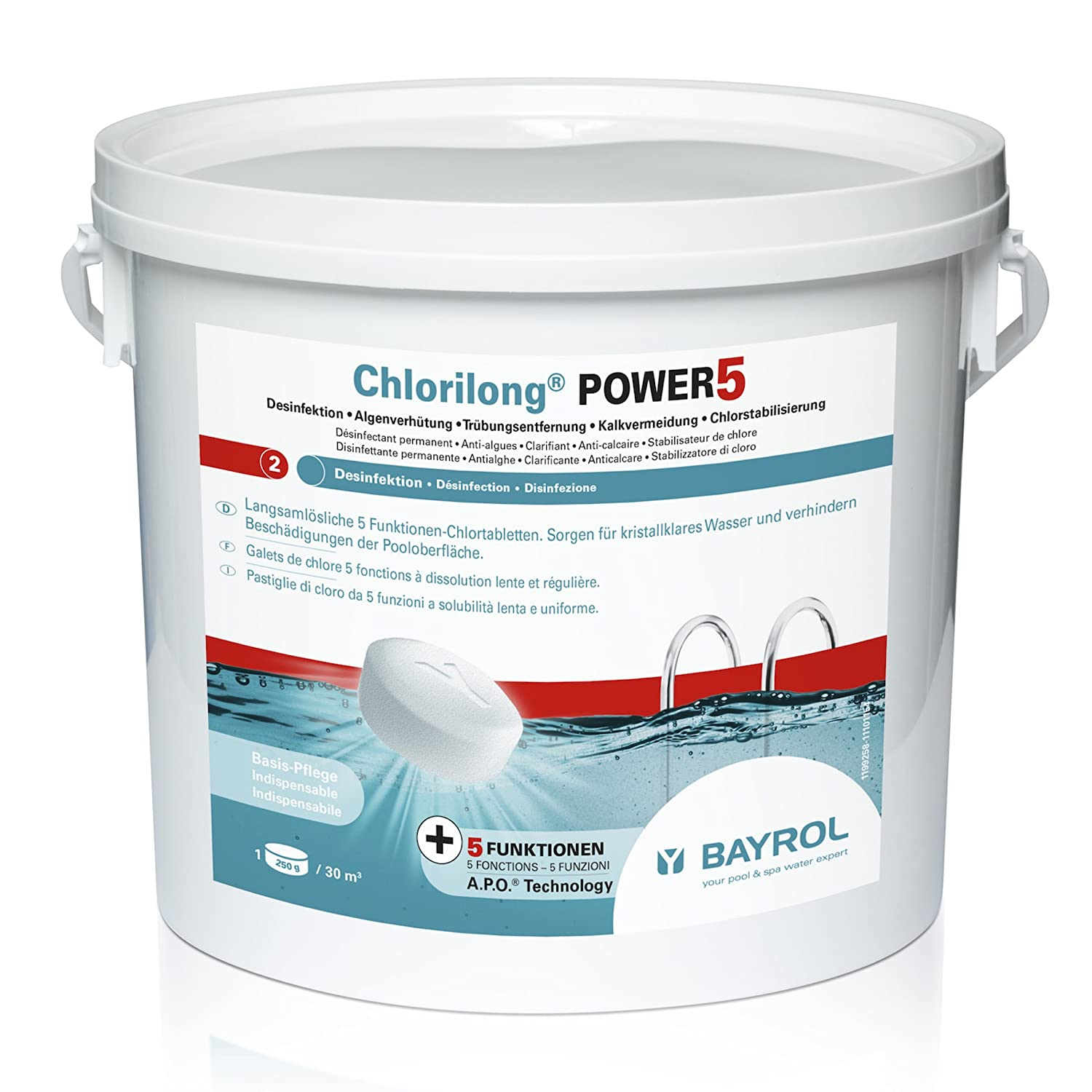 Bayrol Chlorilong Power 250 g 5 Multi-functional Tablet Chlorine Disinfectant 5 kg