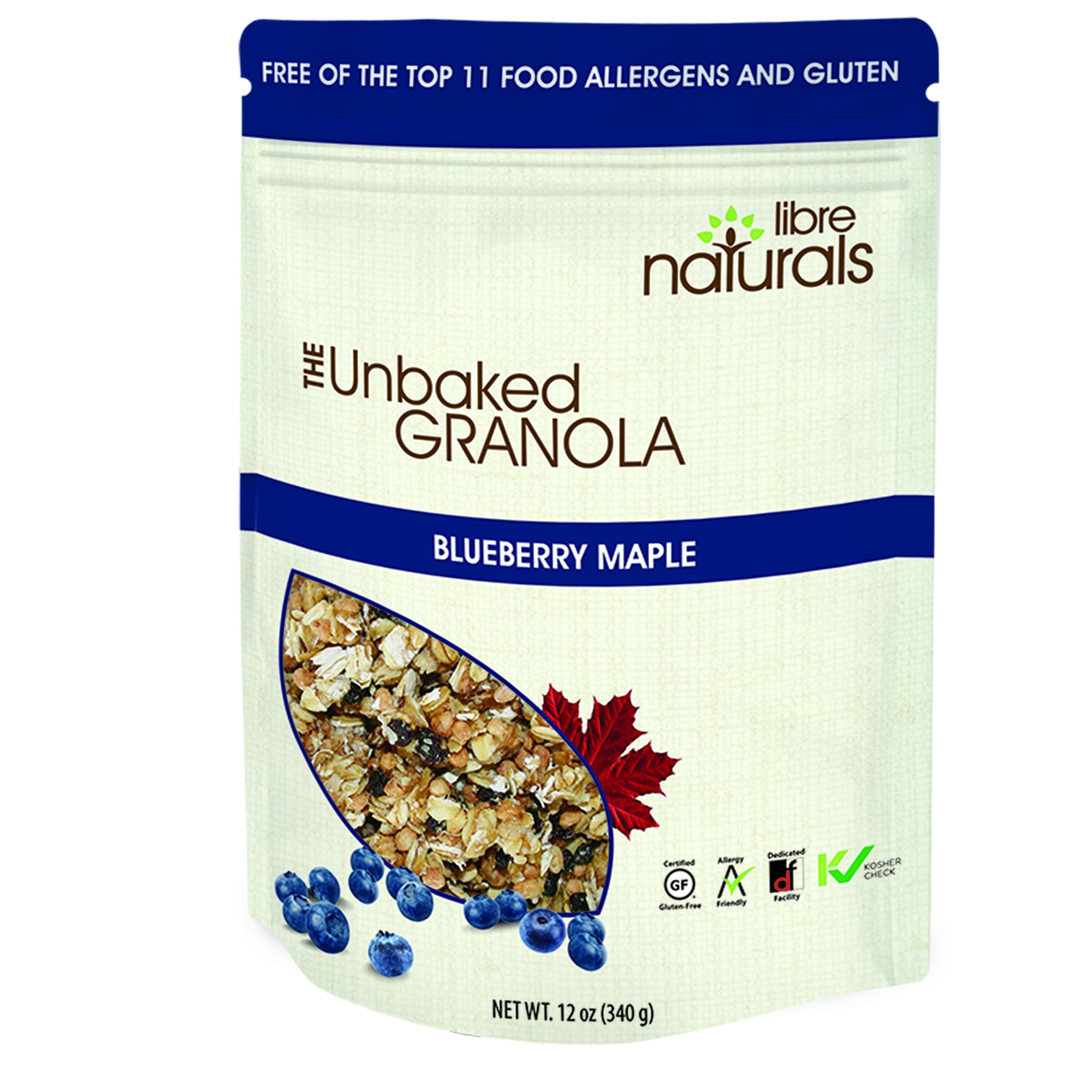 Allergy Friendly, Gluten Free >> Blueberry Maple Granola - Libre Naturals, 340 gram pouch x 6 pack
