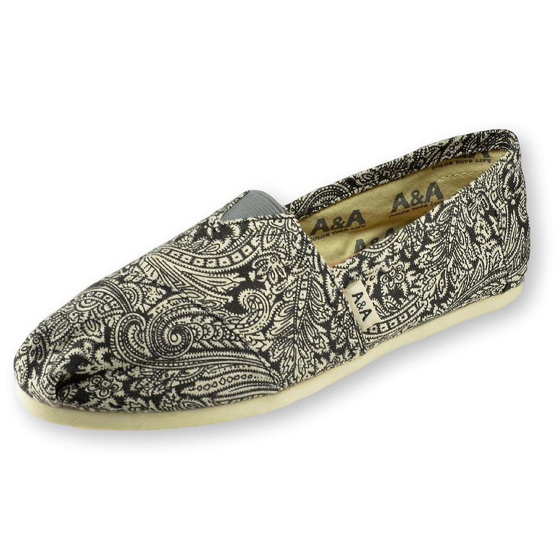 A&A Women Black Slip-on Casual Flats Canvas Shoes Alpargatas (Henna T)