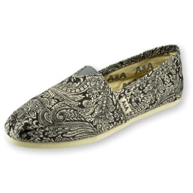 A&A Black Slip-on Casual Flats Canvas Shoes Alpargatas for Women (Henna T)