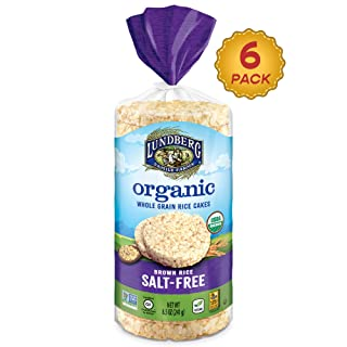 Lundberg Organic Brown Rice Cakes, Salt-Free, 8.5oz (6Count), Gluten-Free, Vegan, Usda Certified Organic, Non-Gmo Verified, Kosher, Whole Grain Brown Rice