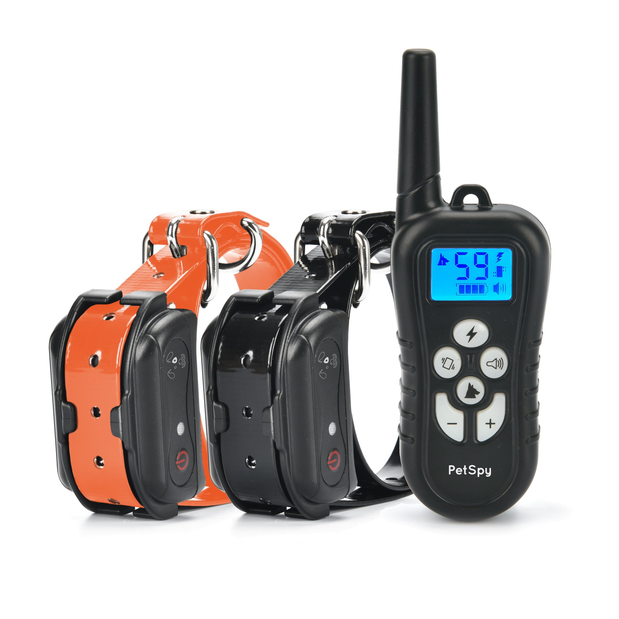 PetSpy Dual Dog Training Shock Collar for 2 Dogs with Beep, Vibration and Electric Shocking, Rechargeable and Waterproof E-Collar Remote Trainer by PetSpy