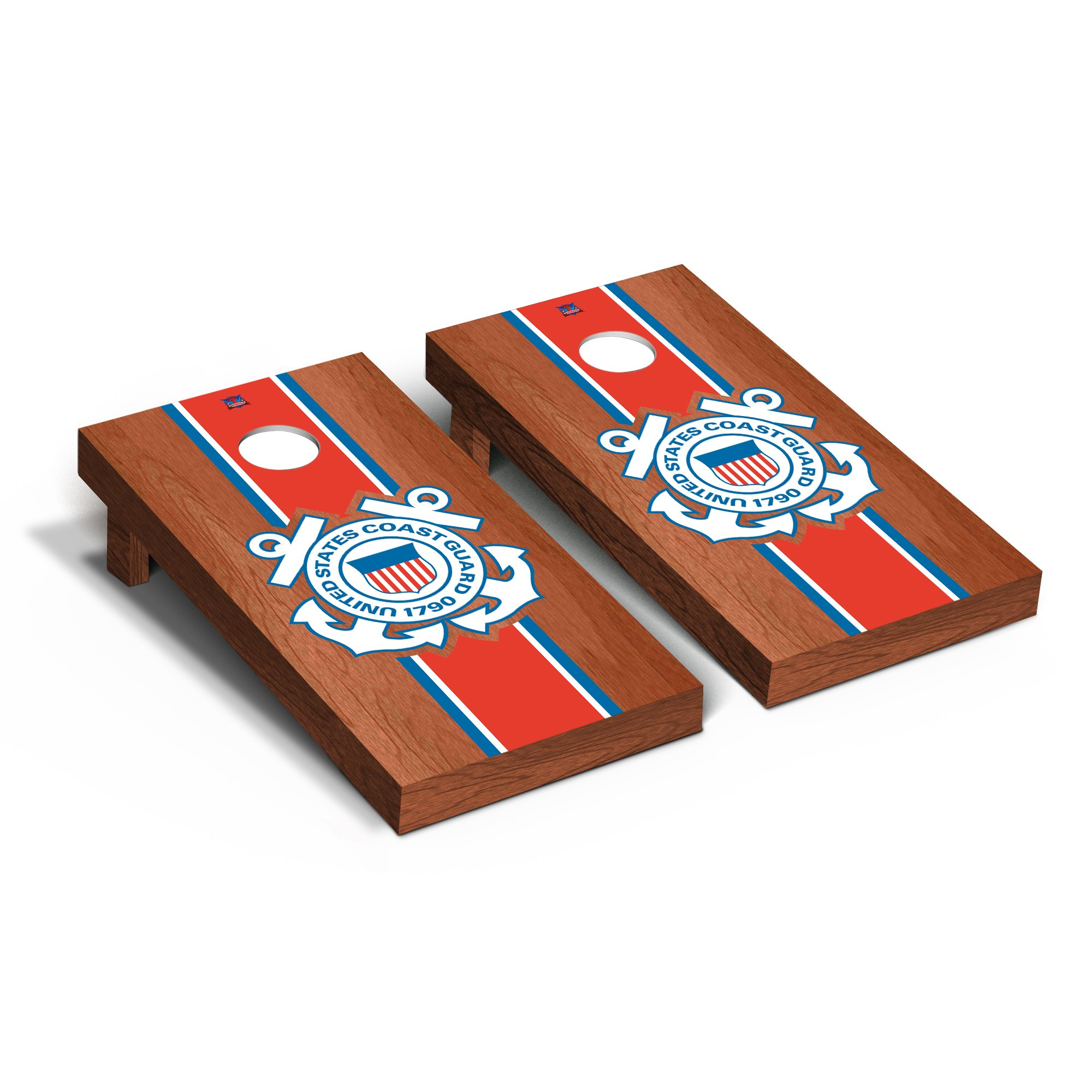 US Coast Guard Cornhole Game Set Rosewood Stained Stripe Version by Victory Tailgate