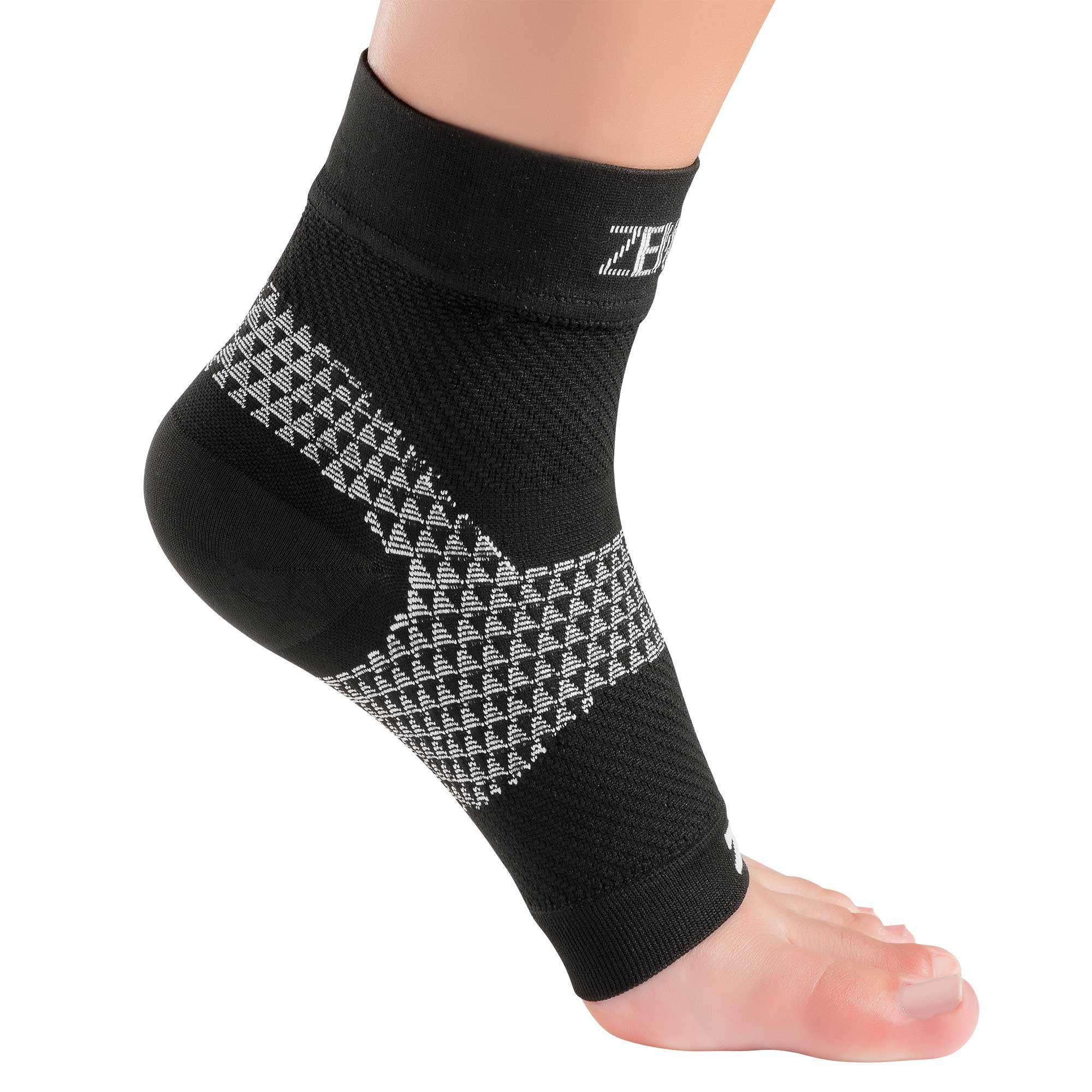 Zensah Plantar Fasciitis Ankle Sleeves, Small, Black