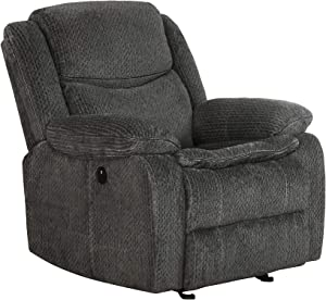 Coaster Home Furnishings Jennings Upholstered Charcoal Power Glider Recliner